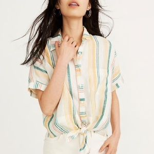 Madewell Pineapple Stripe Linen Tie Front Shirt XS